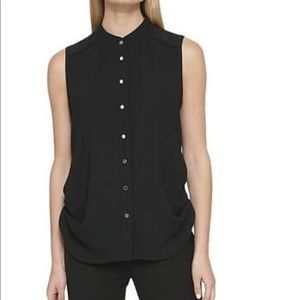 DKNY Button Down Sleeveless Blouse - ChicEwe